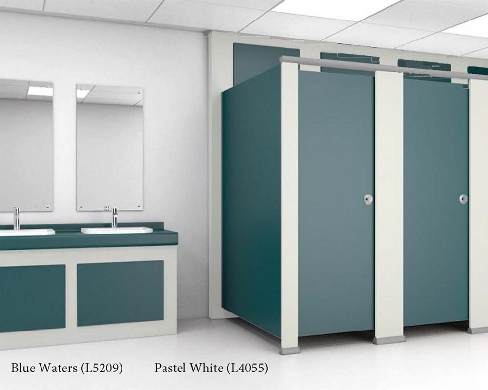 Washroom with toilet doors and vanity unit panels in Blue Waters with Pastel White trims around