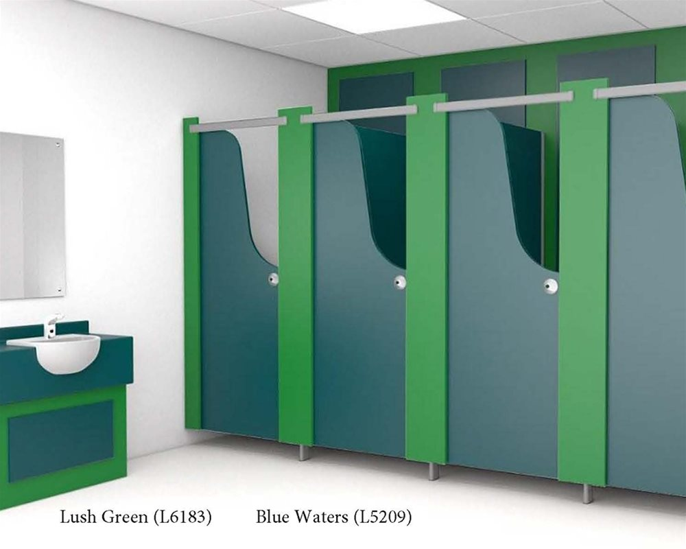 Lush Green and Blue Waters toilet doors and vanity unit panels in a washroom.