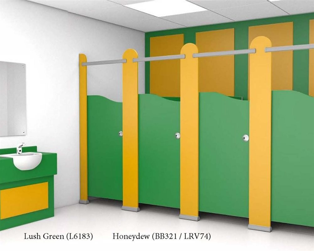 Lush Green toilet doors and vanity unit with Honeydew panels to finish to washroom.
