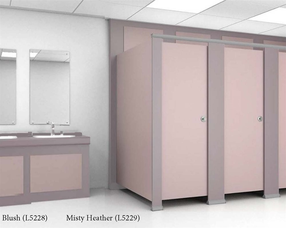 Misty Heather and Blush colour toilet cubicles and vanity unit in a washroom.