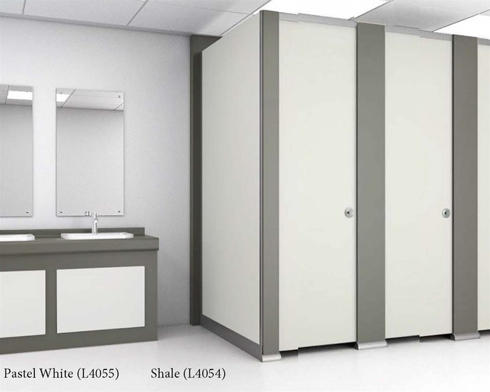 Pastel White and Shale toilet cubicles and panels
