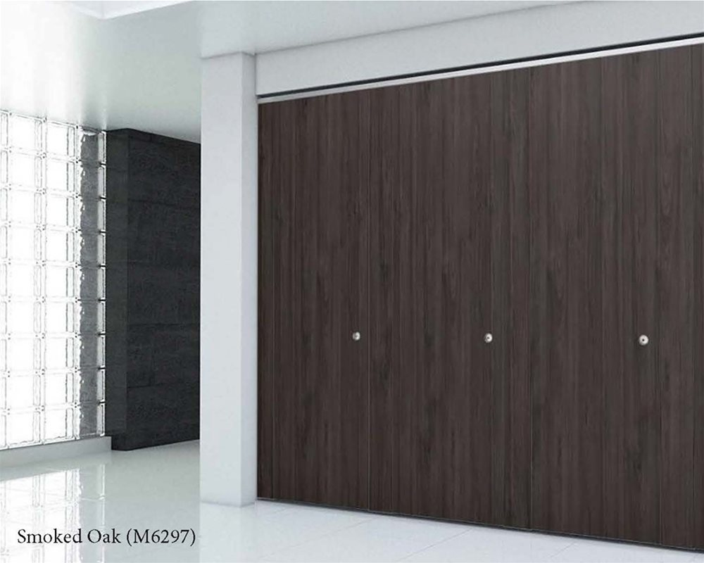 Dark Smoked Oak toilet cubicle doors in a white finished room
