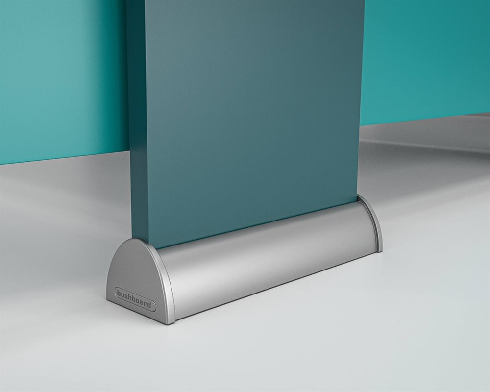 Tough Stuff floor fixed Pilaster shoe in Charcoal with pilasters in 'Blue Ink' and partitions and doors in 'Powder Blue'