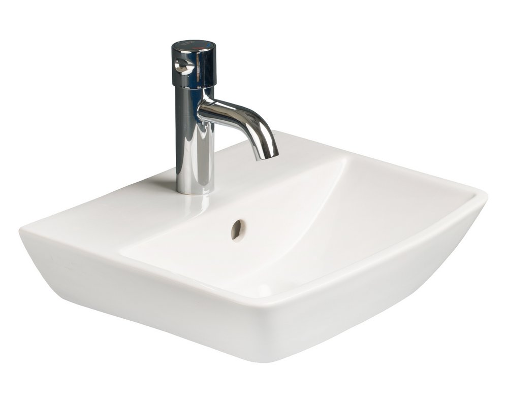 Langley 400 Wall Hung Basin with centre tap hole on white background