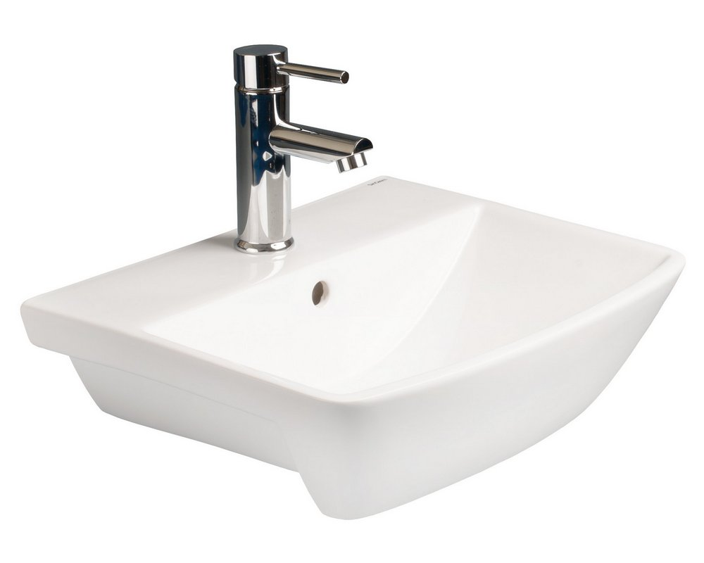 Langley 500 Semi Recessed Basin with centre tap hole on white background
