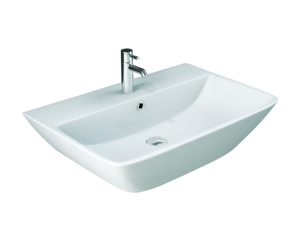 Langley 500 Wall Hung Basin with centre tap hole on white background