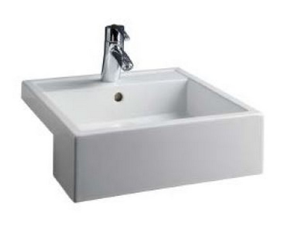 Marden 460 Square Semi Recessed Basin CTH on white background