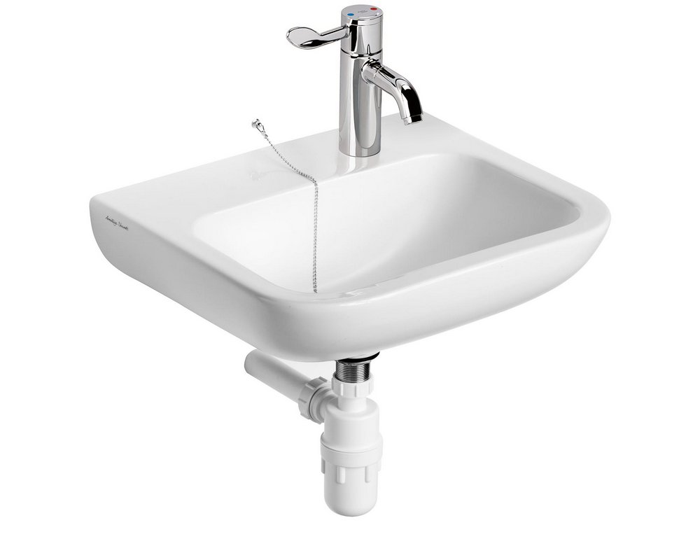 Portman 21500 Wall Hung Basin right hand tap hole with lever mixer tap and plastic bottle trap and chain stay