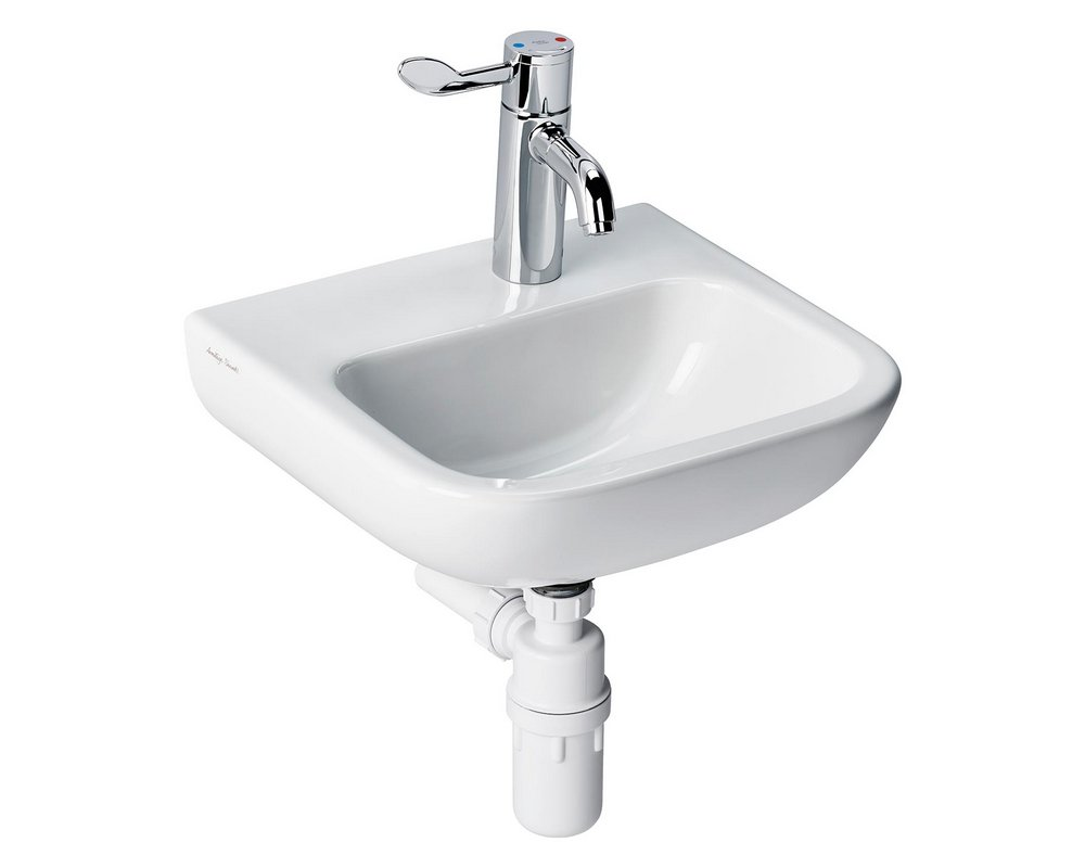 Portman 21400 Wall Hung Basin right hand tap hole with lever mixer tap and plastic bottle trap