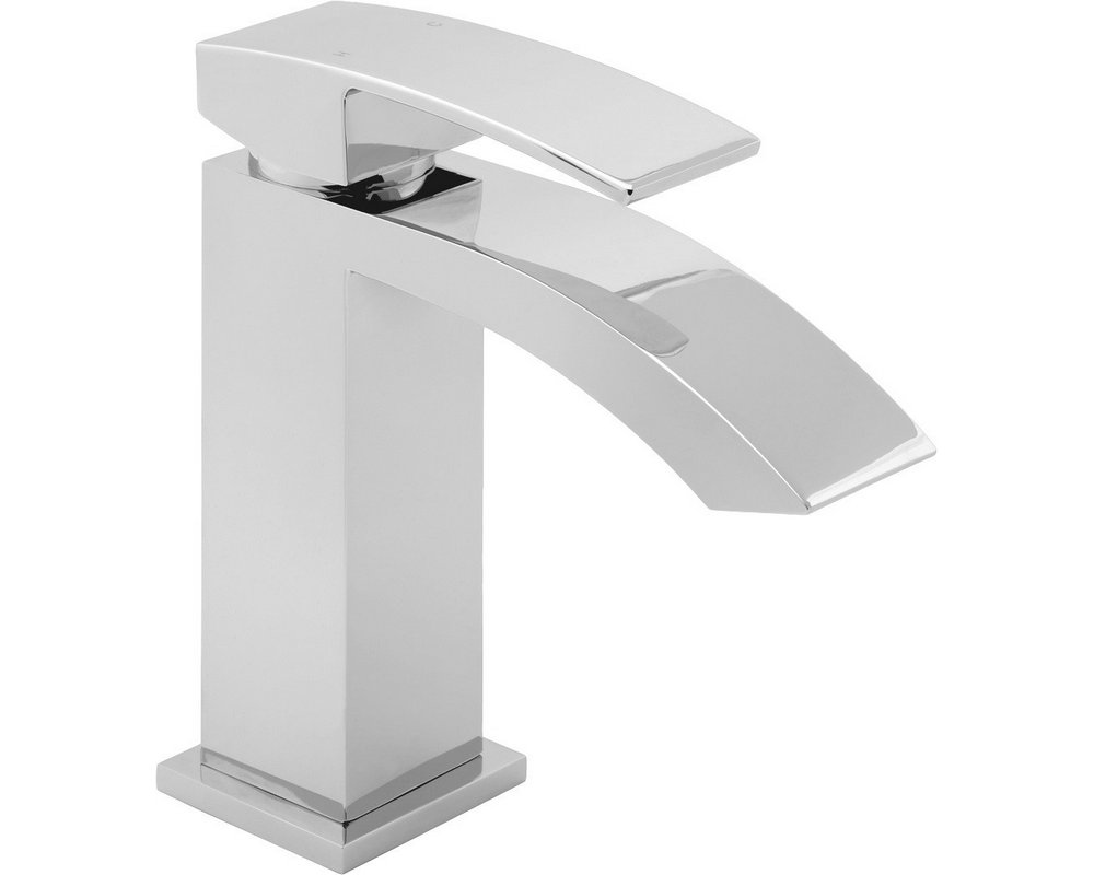 Swoop Deck Mounted Mono Basin Mixer Tap on white background