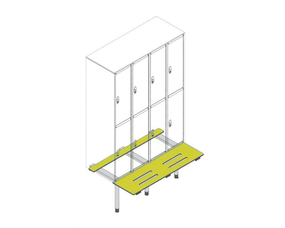 5 different locker types with bench on white background