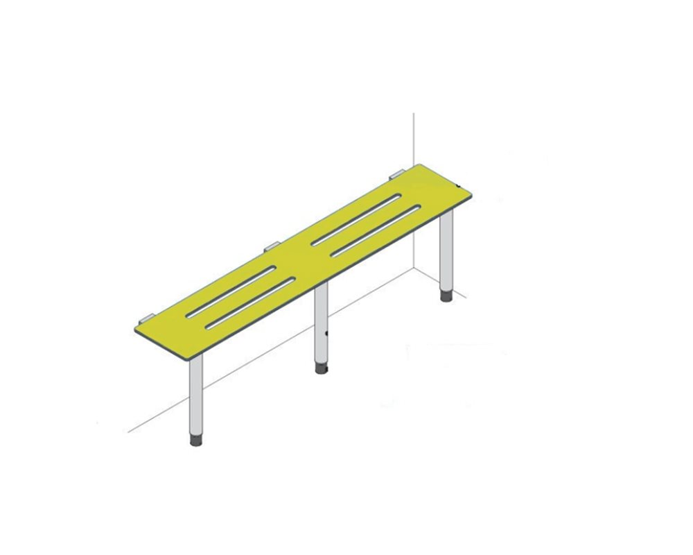Ash wood 3 Slat Perimeter Bench with dark grey Nylon coated galvanised Steel framework