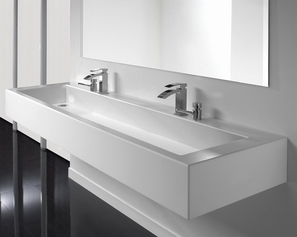 Solid Surface Washtrough in white 'Elysian' mounted on white wall
