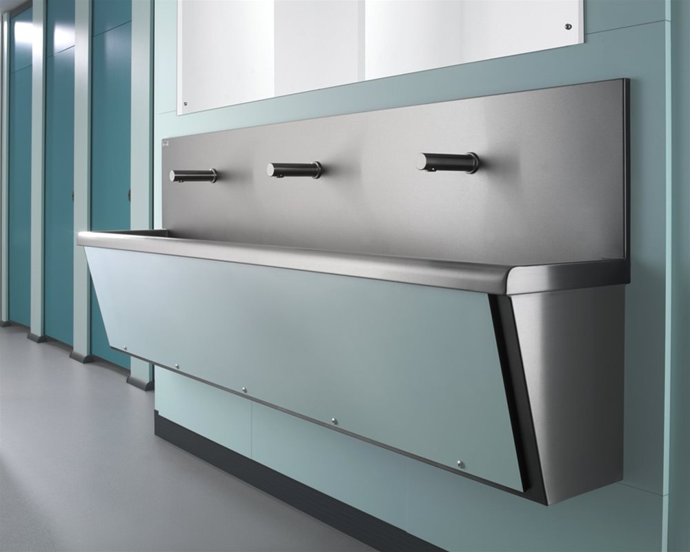 Stainless Steel Washtrough wall mounted with blue panel
