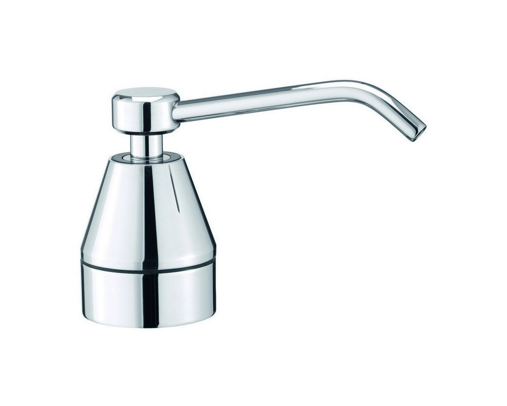 Chrome push down soap dispenser with curved nozzle