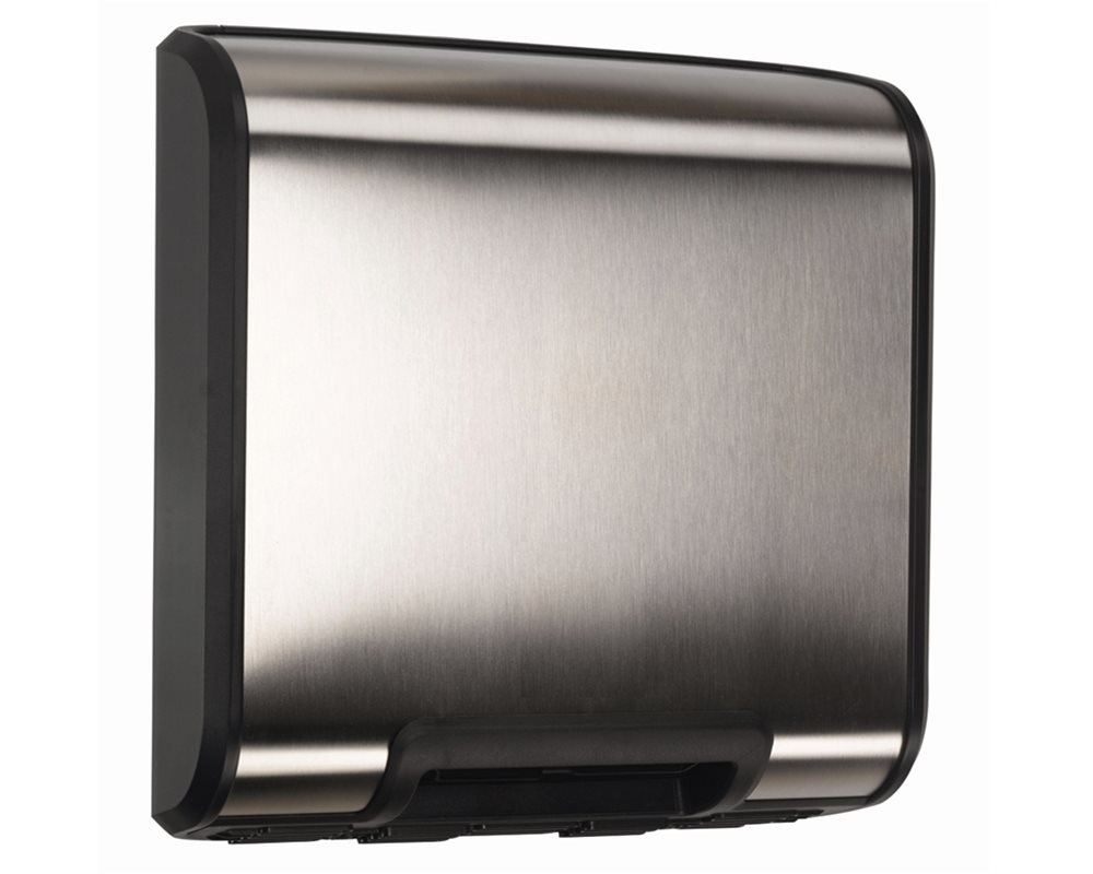 Slimline Warm Air Hand Dryer in Stainless Steel and Black on white background