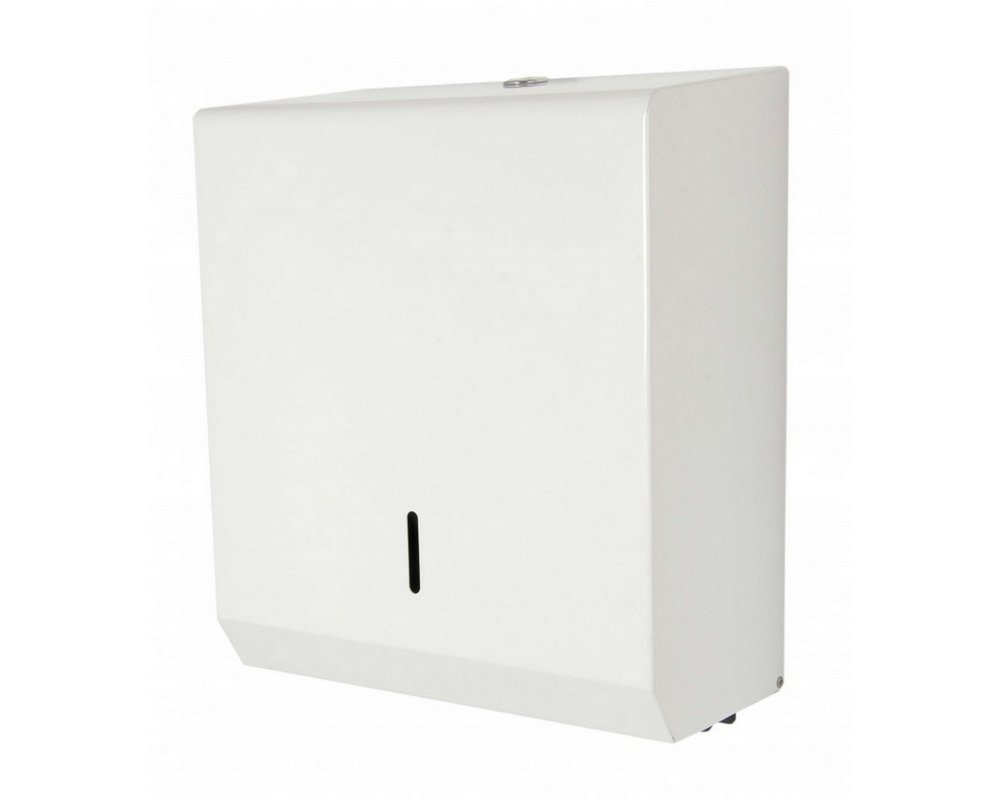 White Metal Paper Towel Dispenser on white background