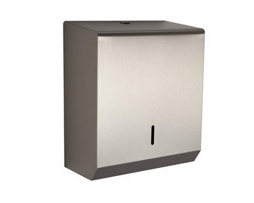 Lockable wall mounted stainless steel paper towel dispenser