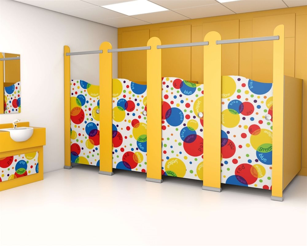 Kids Stuff cubicle with 'Colour Creations' digital printed doors and yellow 'Honeydew' colour pilasters