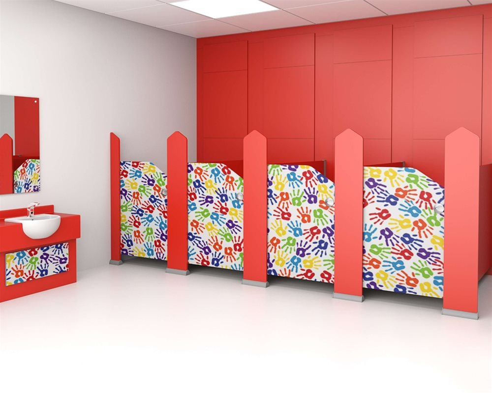 Tiny Stuff nursery cubicle with 'Hand Prints' digital printed doors and 'Bright Red' colour pilasters