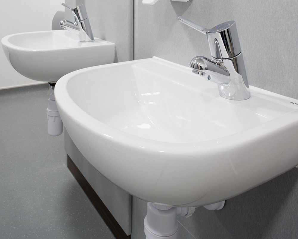 SanCeram white Chartham basin with single tap on Winter panels