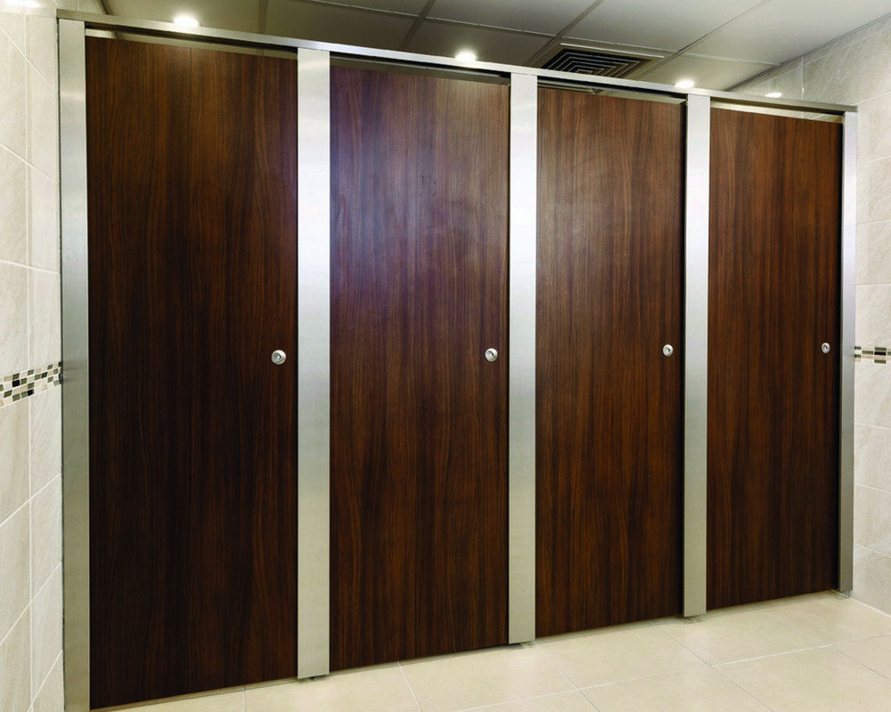 The Church of Scientology Paraline Platinum washroom cubicles with American Walnut doors