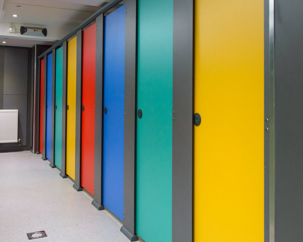 The Forest School multi-coloured 'Quadro' cubicle doors