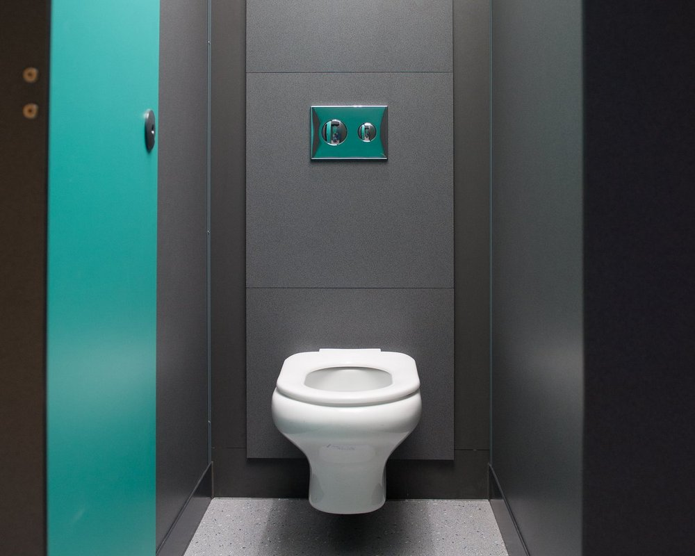 The Forest School Chartham Wall Hung WC inside grey 'Welsh Slate' toilet cubicle