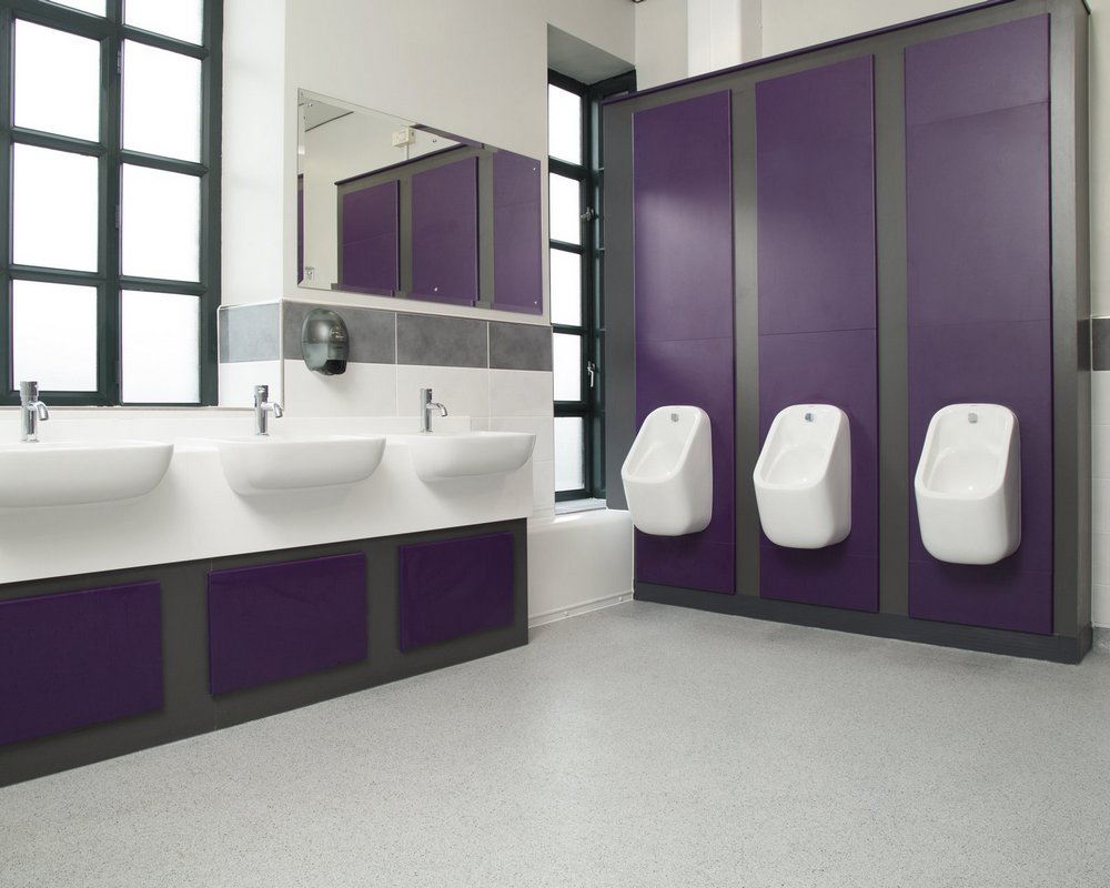 Huddersfield University male washrooms with semi-recessed vanity units and pre-plumbed urinals