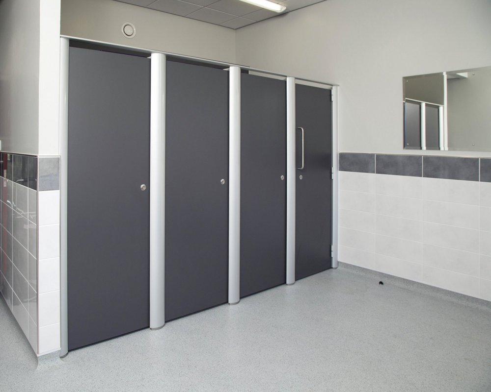 Huddersfield University washrooms with Aero Pearl toilet cubicles in grey 'Welsh Slate' finish