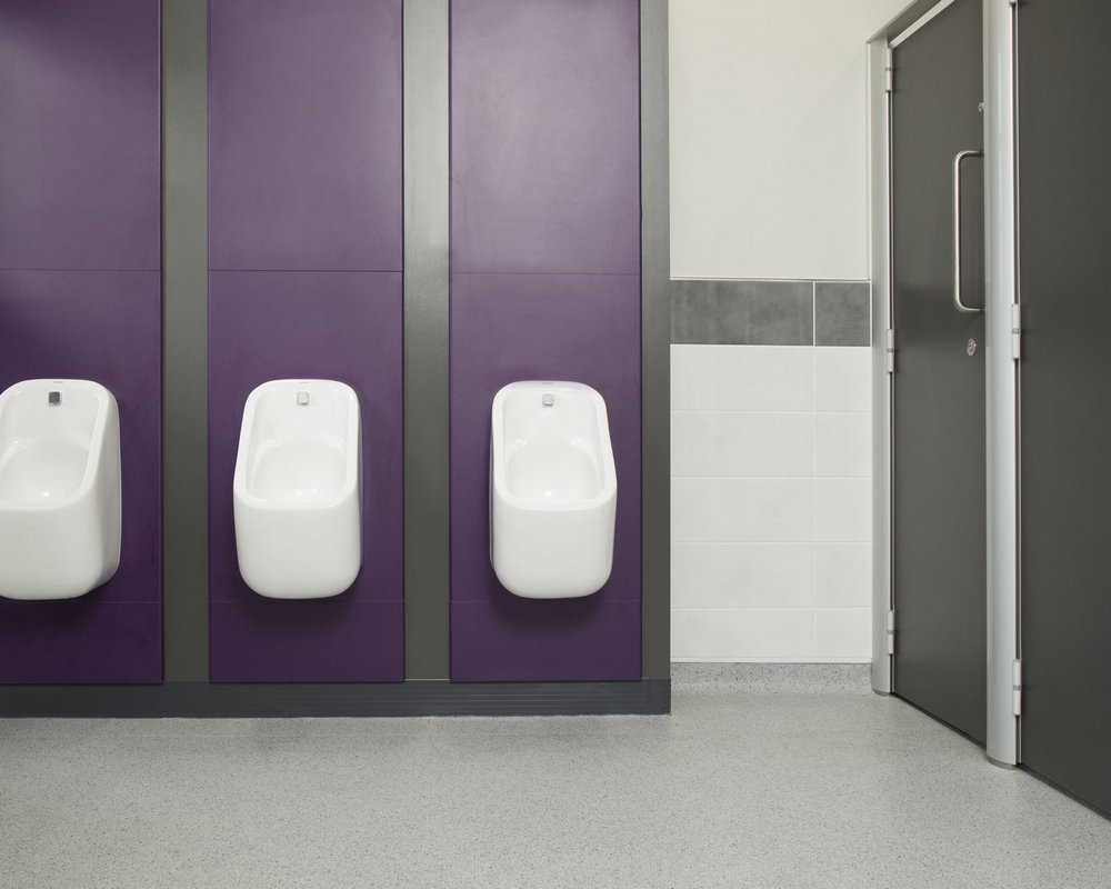 Huddersfield University urinals pre-plumbed to purple IPS panels and grey 'Welsh Slate' flashgaps