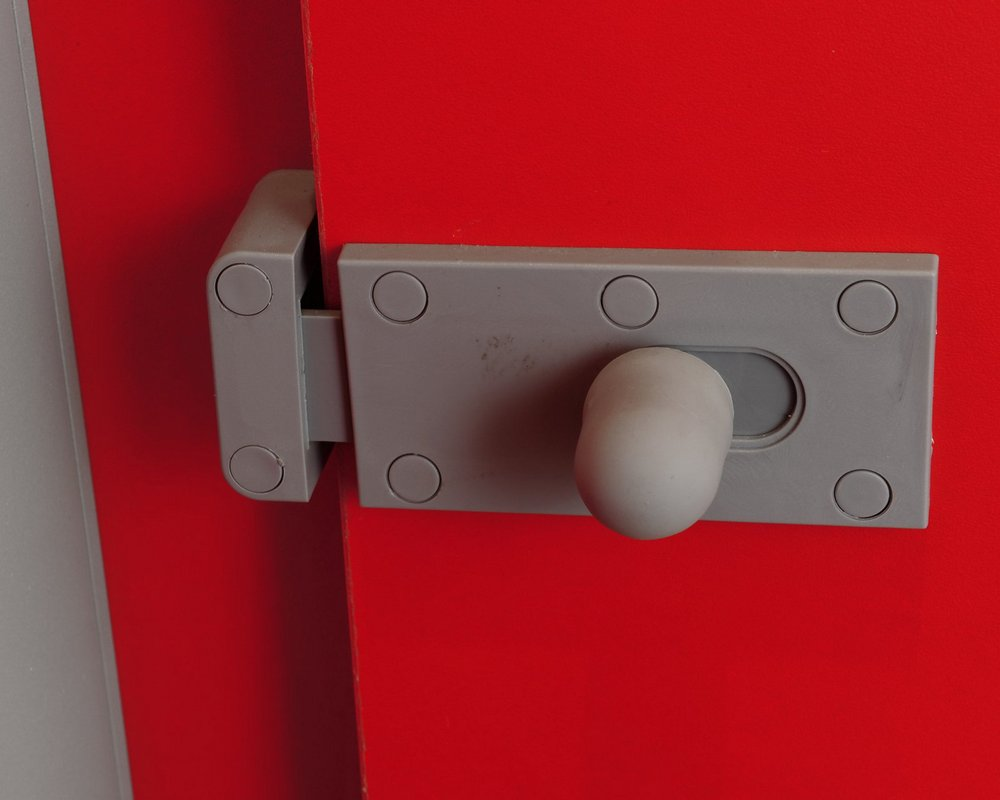 Toilet Cubicle Lock on 'bright red' toilet cubicle door