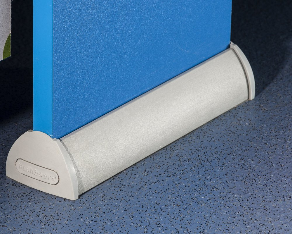 Cubicle pilaster foot with 'cobalt blue' colour pilaster