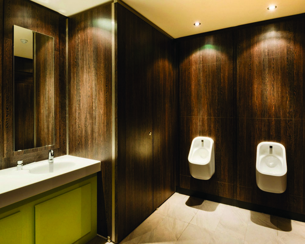 Definition Full Height HPL in 'American Walnut' with full height urinal ducts to match