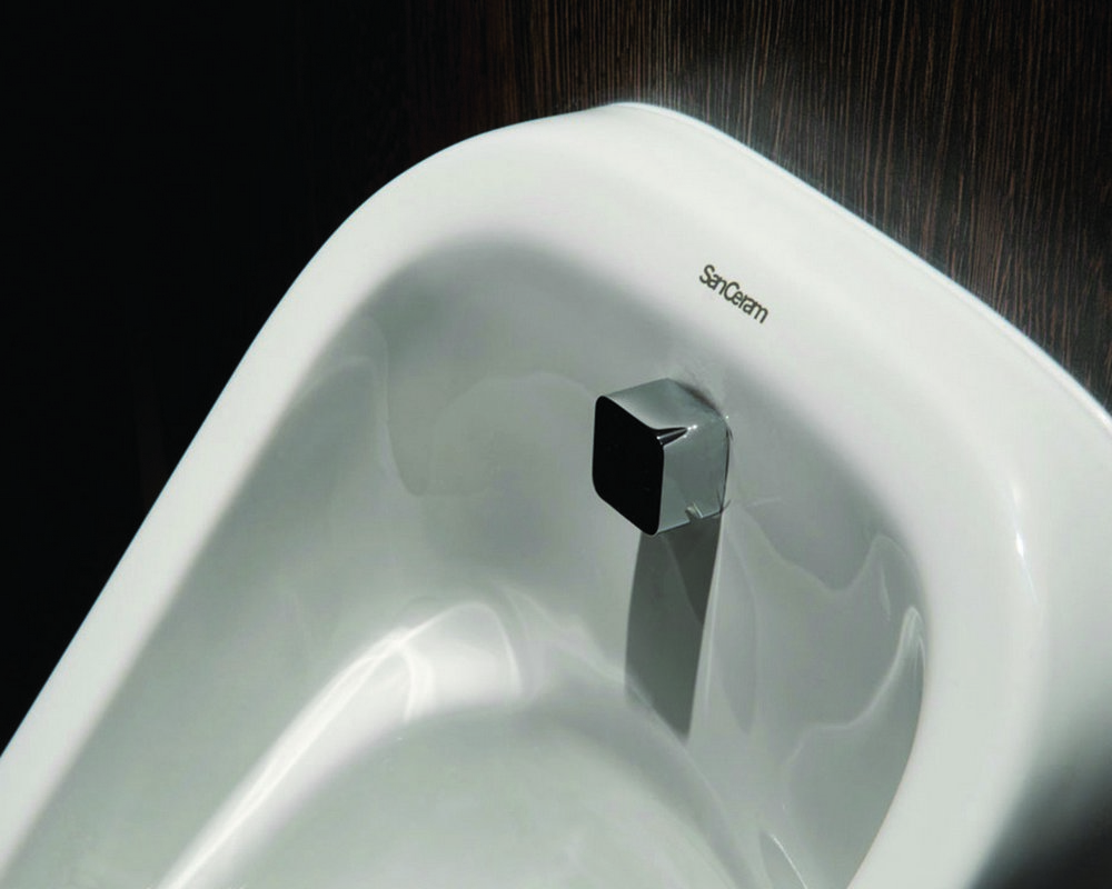 Ready plumbed wall hung White Marden Urinal with square back inlet spreader and concealed hangers