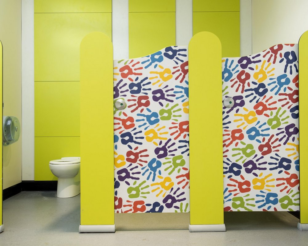 Primrose Hill Tiny Stuff cubicles 'hand prints' laminate prints, IPS system and back to to wall wc in background