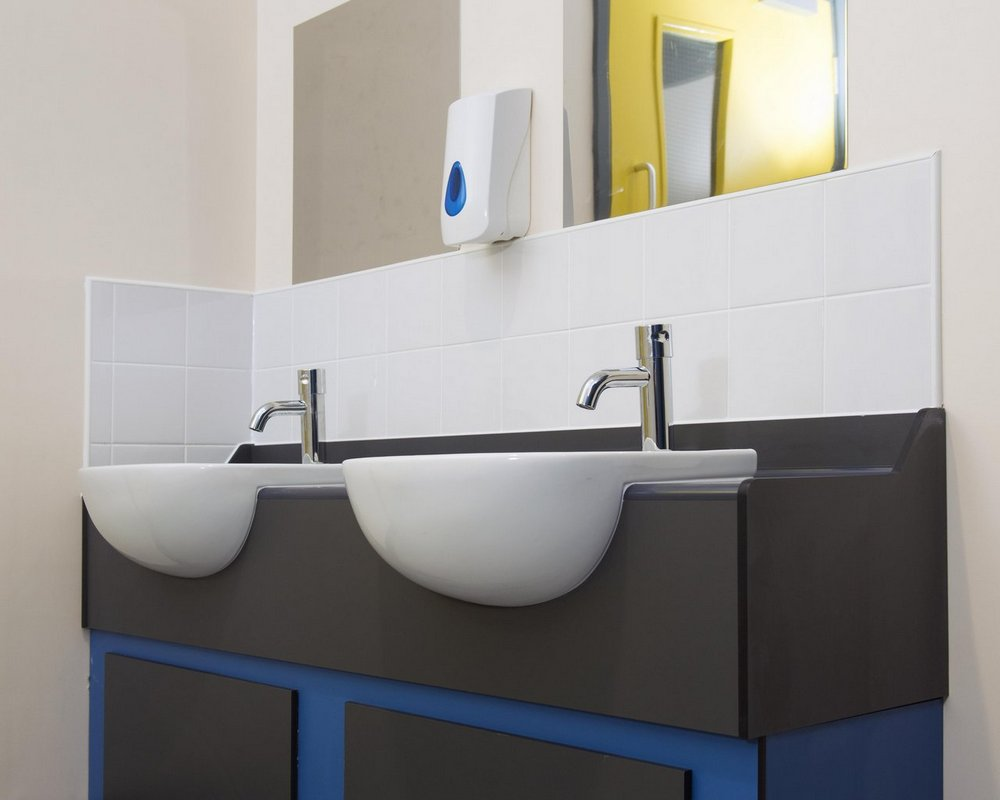 Primrose Hill semi-recessed vanity unit with basins and self closing mixer tap, soap dispenser