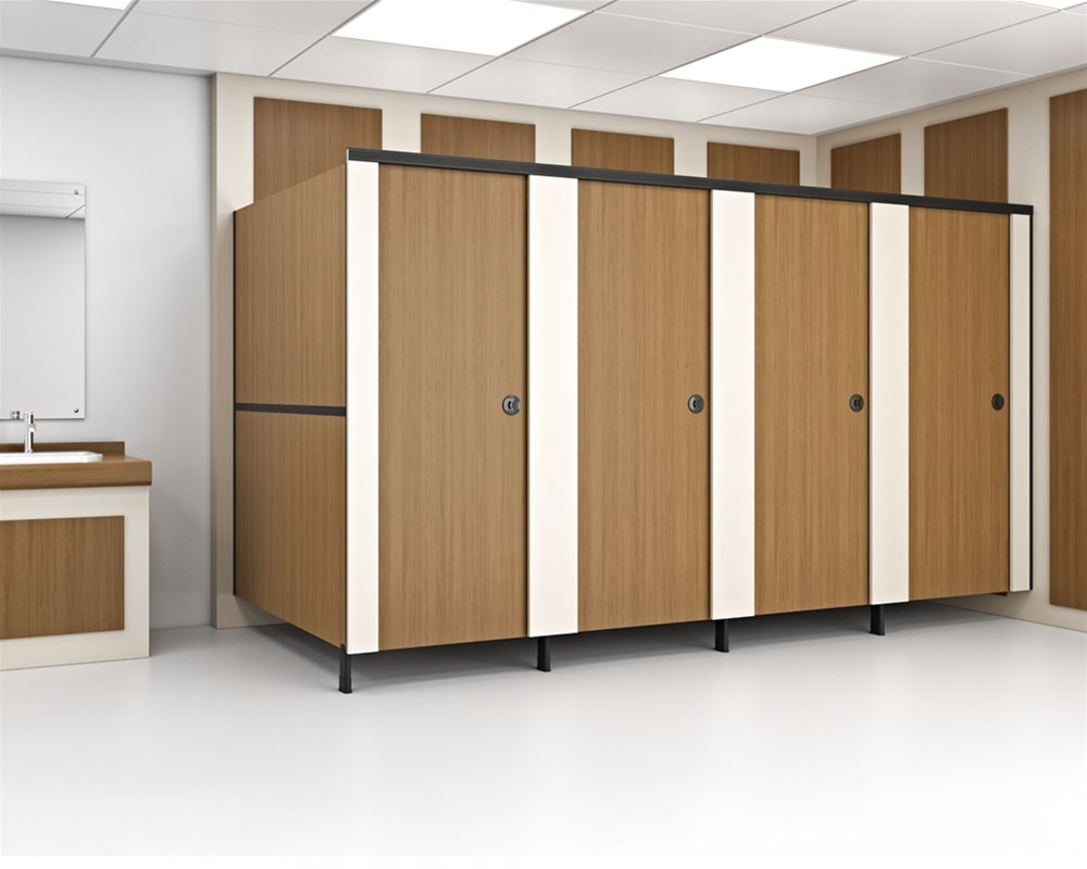 Fast Track 48hr toilet cubicle in Oak and Cream