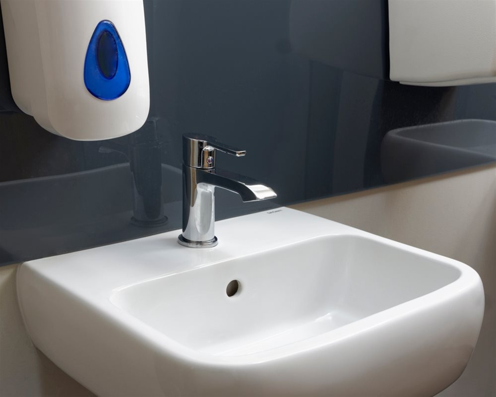 The Copper Kettle Chartham wall hung basin in white with chrome tap