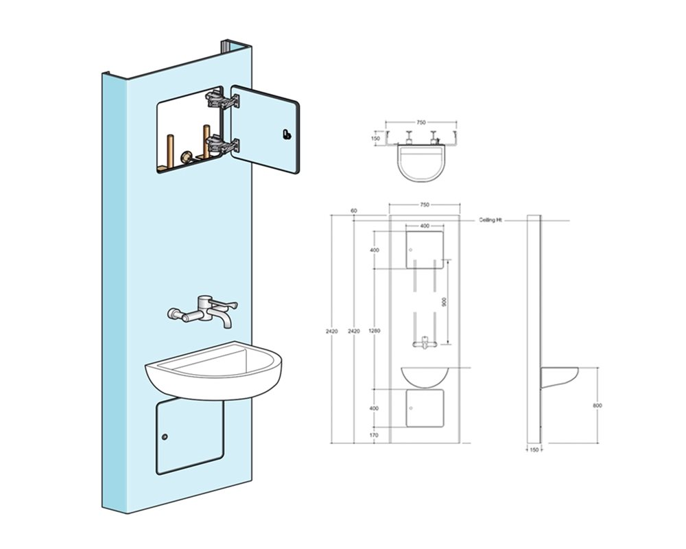 Post-formed Boxed Out Unit with wall hung basin and thermostatic lever tap with hinged and lockable panel