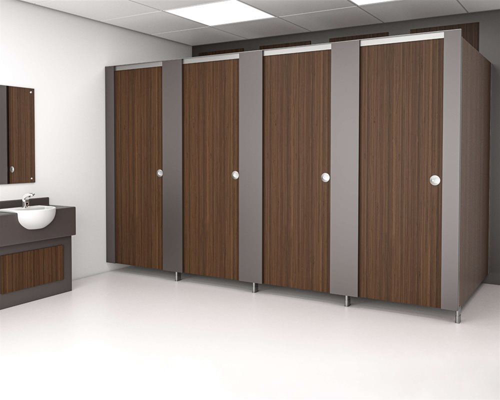 Baseline toilet cubicle with 'American Walnut' colour doors
