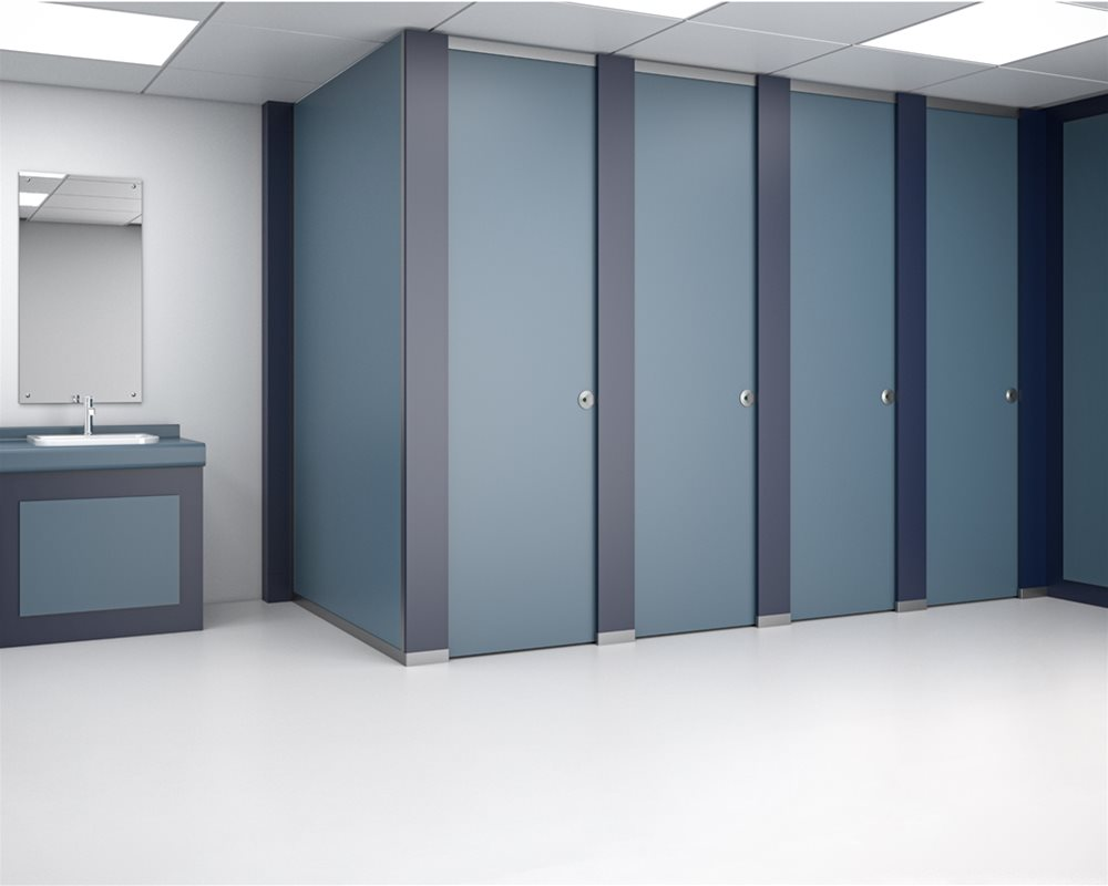 HiZone full height toilet cubicle with 'European Oak' colour doors and 'Winter' colour pilasters
