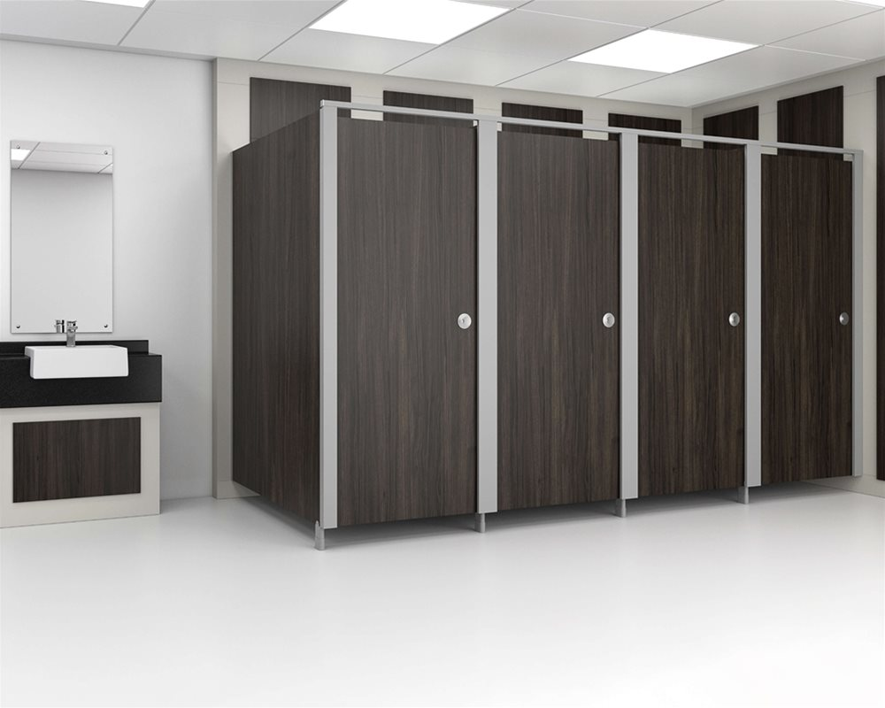 Paraline cubicle with 'Wenge' colour doors in 'Titanium' finish