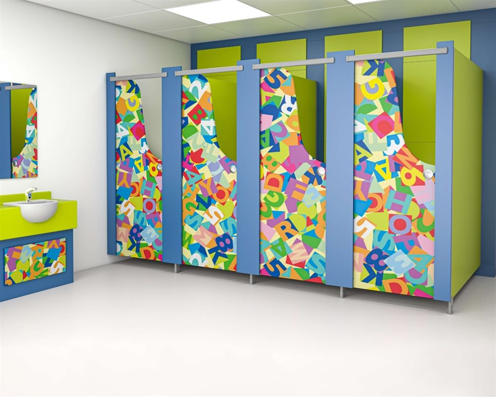 Profile Kids cubicle and semi-recessed vanity unit with an upstand in green 'Zest', blue 'Cobalt' and 'Jumble blocks' kids print