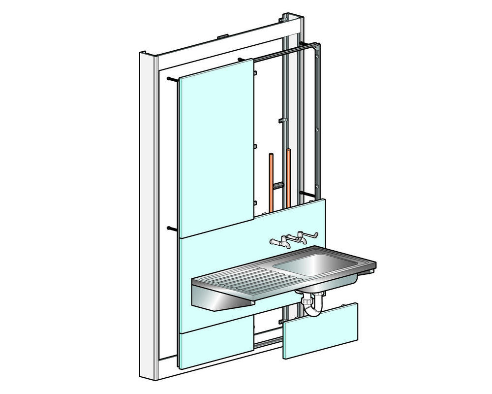 Healthcare Sink and Sink Top Assemblies with left hand drainer on white background