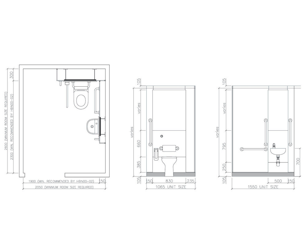 Elevation drawing of a pre plumbed WC Doc M pack