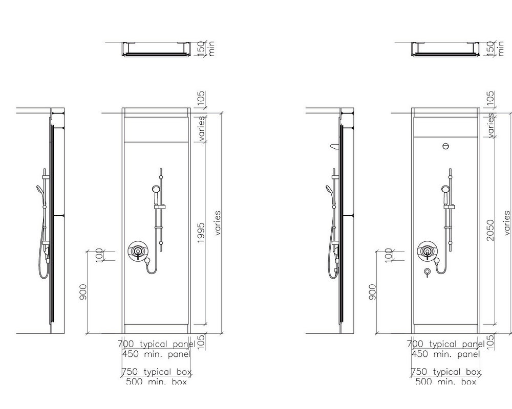 Elevation drawing of a pre-plumbed Shower unit