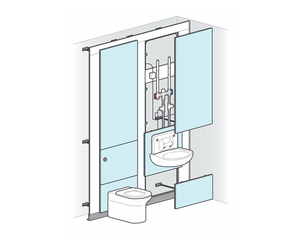 Healthcare low risk back to wall WC pre-plumbed on to blue panels with white background