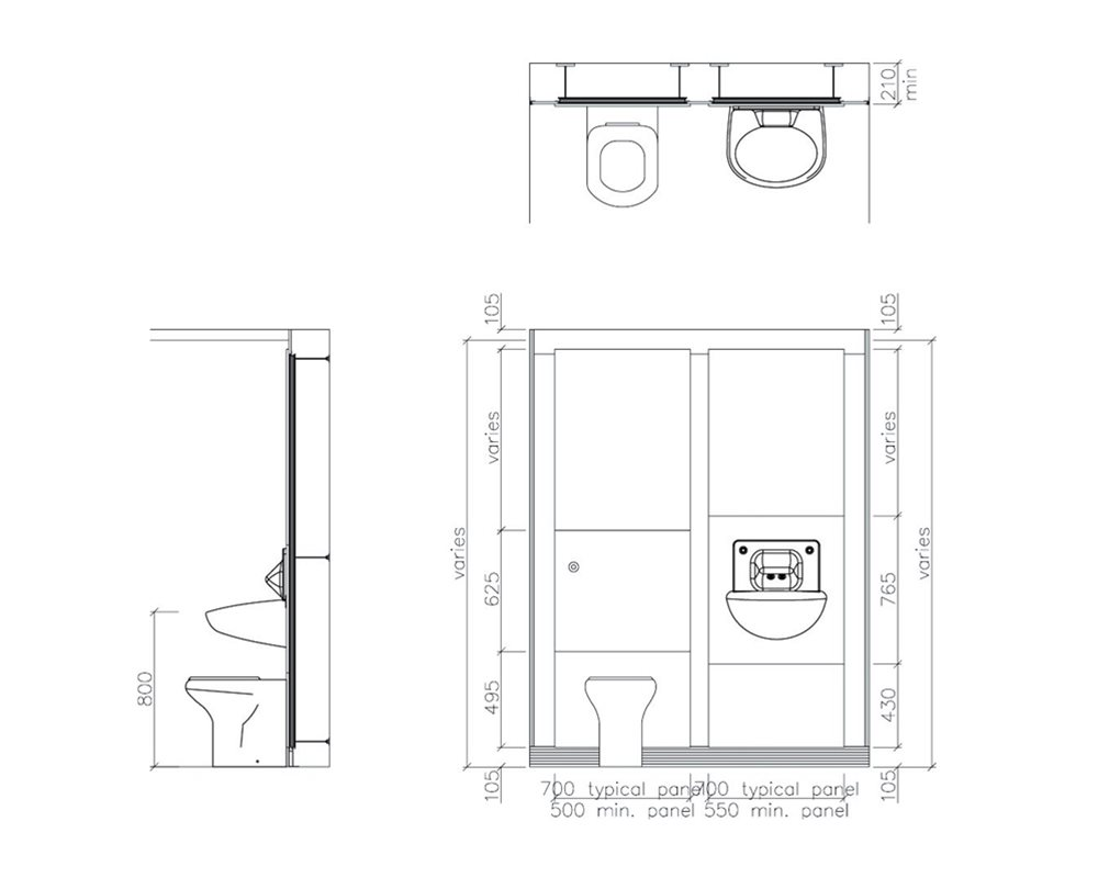 Healthcare low risk back to wall WC technical drawing