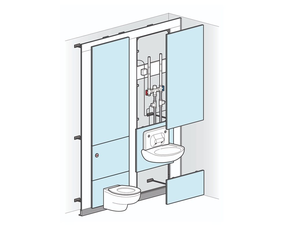 Healthcare low risk wall hung WC pre-plumbed on to blue panels with white background